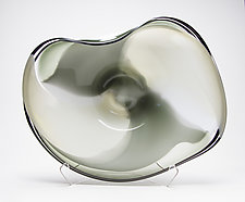 Sage, Bone, and White Wave Bowl by Janet Nicholson and Rick Nicholson (Art Glass Sculpture)