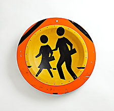 Orange Kids X-ing Platter by Boris Bally (Metal Wall Sculpture)