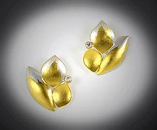 Diamond Petals Earrings by Judith Neugebauer (Gold & Silver Earrings)