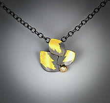 Diamond Leaf Pendant by Judith Neugebauer (Gold, Silver & Stone Necklace)