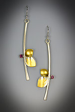 Red Berry Earrings by Judith Neugebauer (Gold, Silver & Stone Earrings)