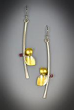 Red Berry Earrings by Judith Neugebauer (Gold, Silver & Stone Earrings)