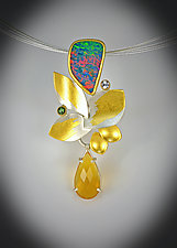 Sunflower Pendant Necklace by Judith Neugebauer (Gold, Silver & Stone Necklace)