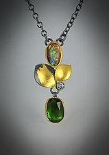 Opal Forest Pendant Necklace II by Judith Neugebauer (Gold, Silver & Stone Necklace)