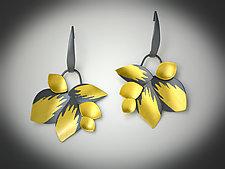 Peony Flowers Earrings by Judith Neugebauer (Gold & Silver Earrings)