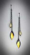 Long Leaf Dangle Earrings by Judith Neugebauer (Gold, Silver & Stone Earrings)