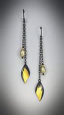 Long Leaf Dangle Earrings by Judith Neugebauer (Gold, Silver & Stone Earrings)
