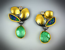 Emerald Forest Earrings by Judith Neugebauer (Gold, Silver & Stone Earrings)