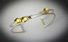 Petite Leaf Cuff Bracelet by Judith Neugebauer (Gold, Silver & Stone Bracelet)