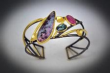 Triad Cuff Bracelet by Judith Neugebauer (Gold, Silver & Stone Bracelet)