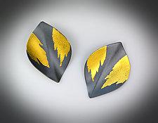 Folded Birch Earrings by Judith Neugebauer (Gold & Silver Earrings)
