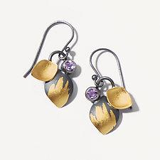 Amethyst Leaf Dangle Earrings by Judith Neugebauer (Gold, Silver & Stone Earrings)