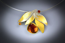 Autumn Leaves Necklace by Judith Neugebauer (Gold, Silver & Stone Necklace)