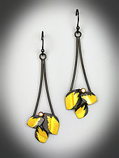 Diamond Leaf Dangle Earrings by Judith Neugebauer (Gold, Silver & Stone Earrings)