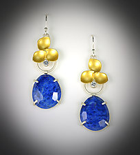 Evelyn Lapis Earrings by Judith Neugebauer (Gold, Silver & Stone Earrings)