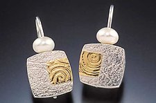 Gold & Pearl Textured Earrings by Idelle Hammond-Sass (Silver & Gold Earrings)