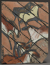 Cave Painting Tile, The Romp by Jeri Hollister (Ceramic Wall Sculpture)