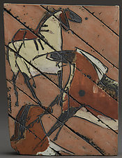 Cave Painting Tile, Beauty Mark by Jeri Hollister (Ceramic Wall Sculpture)
