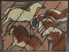 Cave Painting Tile, The Herd by Jeri Hollister (Ceramic Wall Sculpture)