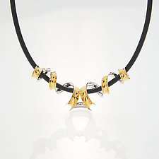 Mirrored Helix Necklace by Nancy Linkin (Gold, Silver & Stone Necklace)