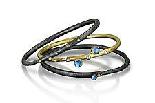 Blue Moonstone Autus Bracelet Set by Christine Mackellar (Gold, Silver & Stone Bracelets)