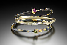 Eclipse Pattern Bangles by Christine Mackellar (Gold, Silver & Stone Bracelet)