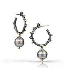 Modern Etruscan Earring by Christine Mackellar (Gold, Silver & Pearl Earrings)