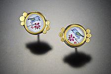 Tiny Bluebird Studs by Ananda Khalsa (Gold & Silver Earrings)