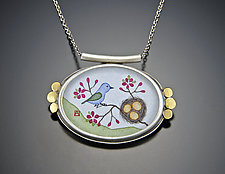 Bluebird and Nest Necklace by Ananda Khalsa (Gold & Silver Necklace)