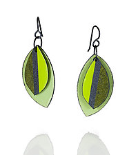 Shaded Leaf Earrings by Lou Ann Townsend and Mary Filapek (Steel Earrings)