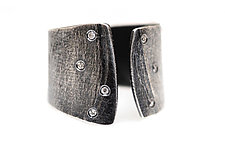 Wafer Ring with Diamonds by Ayesha Mayadas (Silver & Stone Ring)