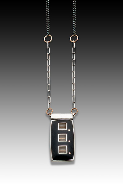 Black and White Square Resin Necklace