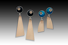 PTP Earrings #2 by Eileen Sutton (Gold, Silver & Resin Earrings)