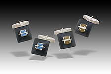 Cushion Cufflinks by Eileen Sutton (Gold, Silver & Resin Cufflink)