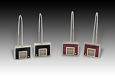 Rectangular Earrings by Eileen Sutton (Gold, Silver & Resin Earrings)