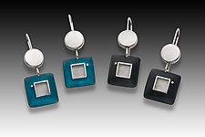 Dot Square Earrings by Eileen Sutton (Gold, Silver & Resin Earrings)