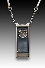XO Rectangular Necklace by Eileen Sutton (Gold, Silver & Resin Necklace)