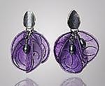 Purple Blossom Earrings by Carol Windsor (Silver, Pearl & Paper Earrings)