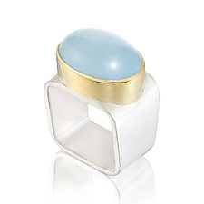 Square Ring: Aquamarine by Gabriel Ofiesh (Gold, Silver & Stone Ring)