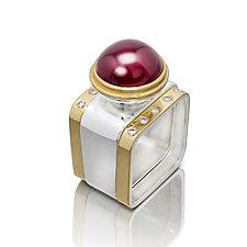 Square Ring: Garnet by Gabriel Ofiesh (Gold, Silver & Stone Ring)