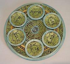 Mediterranean Sky Seder Set by Janine Sopp (Ceramic Seder Plate)