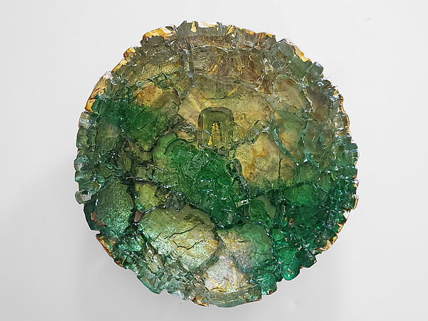 Green and Gold Reclaimed Glass Wall Flower