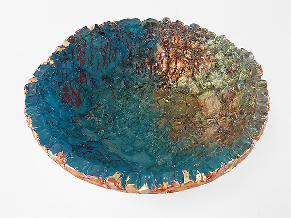 Blue with Red Streaks on Copper Bowl