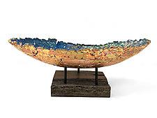 Oblong Vessel in Sky Blue by Mira Woodworth (Art Glass Sculpture)