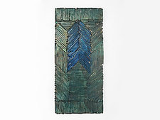 Glass Quilt in Teal and Blue by Mira Woodworth (Art Glass Wall Sculpture)