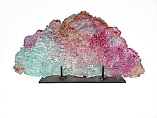 Dreamscape 126 in Fall Colors on Silver by Mira Woodworth (Art Glass Sculpture)