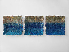 Pacific Sunset Triptych by Mira Woodworth (Art Glass Wall Sculpture)