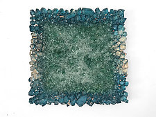 Teal, Green, and Copper Wall Hanging by Mira Woodworth (Art Glass Wall Sculpture)