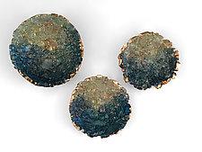 Metallic Teal Triptych by Mira Woodworth (Art Glass Wall Sculpture)