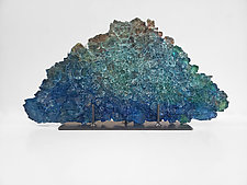 Dreamscape 120, Blue by Mira Woodworth (Art Glass Sculpture)